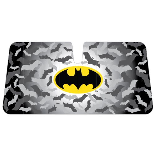 Batman Colored Logo with Bats in Background DC Comics Comics Superhero Character Car Truck SUV Front Windshield Sunshade - Accordion Style (Batman Car Shade compare prices)