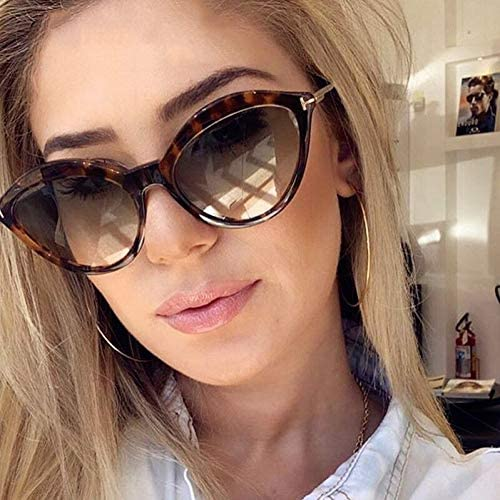 ZJIEJ Lunettes de Soleil Cat Eye Plastic Sunglasses Women Design Gradient Sun Glasses for Female Mirror Shades Uv400