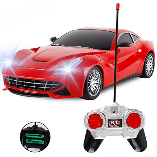 Liberty Imports RC Sports Car Coupe Remote Control RC Full Function Electric Race Car 1:18 Scale (Red)