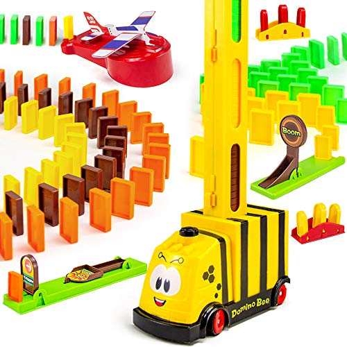 BananMelonBM Domino Train, 200 PCS Domino Rally Electric Train Set with 3 Add-on Machine Blocks Toys Educational Dominoes Building Set STEM Toys for Kids3-8 Year Old Boys and Girls