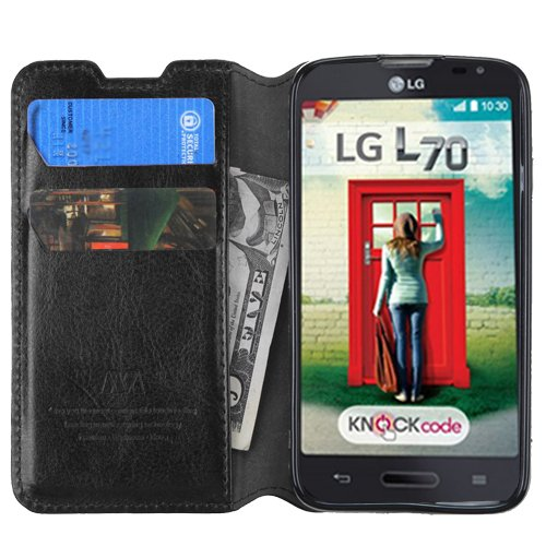 LG OPTIMUS L70 - Black - Leather Flip Stand Wallet Case Credit Card ID Slot Hybrid Cell Phone Cover Accessory + [Protech Monkey StylusTM] L41C Exceed 2 Realm Pulse Ultimate 2