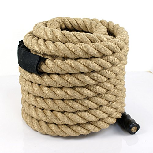Super Deal Upgraded Manila Rope 1.5'' X 50 FT Fitness/Undualation Workout Climbing Jump Battle Rope 3 Strand w/Shirk End Caps (#4) by Super Dea (Image #2)