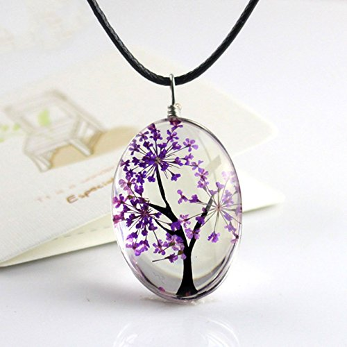 Unicra Tree of Life Pendant Necklace Time Gem Cabochon Flower Inside Necklace for Women and Girls (Purple)