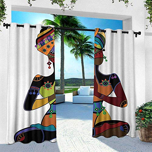 Hengshu Yoga, Outdoor Patio Curtains Waterproof with Grommets,Woman Figure in Ethnic Style Costume Praying Culture Religion Enlightenment Grace, W108 x L108 Inch, Multicolor