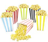 Colorful Striped Popcorn Boxes Cardboard Candy Container for Carnival Party Movie Fiesta VBS 24 Pieces