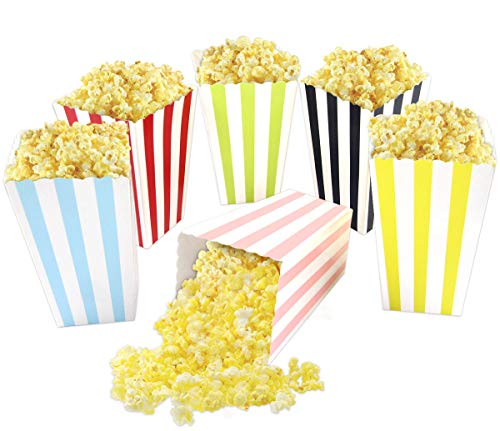 Party Favor Popcorn Boxes (Colorful Striped Popcorn Boxes Cardboard Candy Container for Carnival Party Movie Fiesta VBS 24)