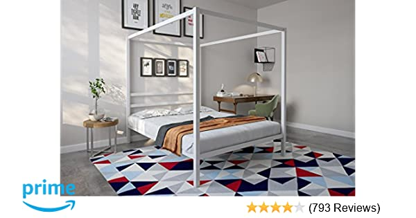 920ccfe086b0 Amazon.com: DHP Modern Canopy Bed with Built-in Headboard, Classic Design,  Queen Size, White: Kitchen & Dining