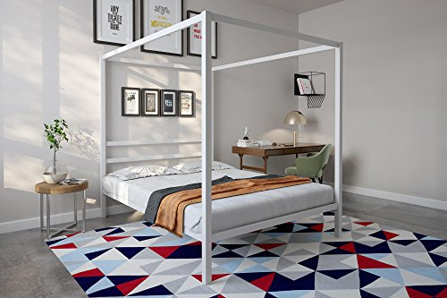 Full Bedroom Bed Poster - DHP Modern Canopy Bed with Built-in Headboard, Classic Design, Queen Size, White