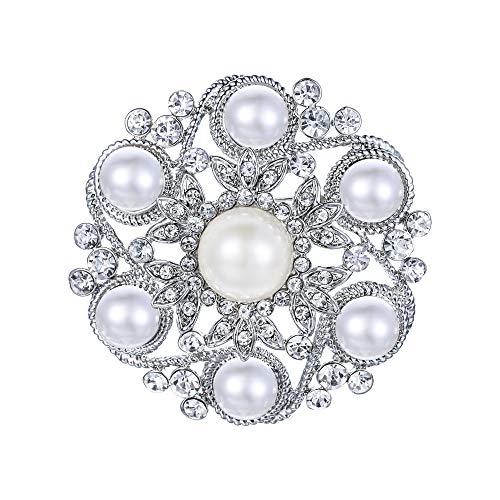 EVER FAITH Austrian Crystal Simulated Pearl Bridal Leaf Flower Brooch Clear Silver-Tone