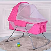 Costzon Baby Bassinet, Foldable Rocking Bed with Mosquito Net & Carrying Bag (Pink)