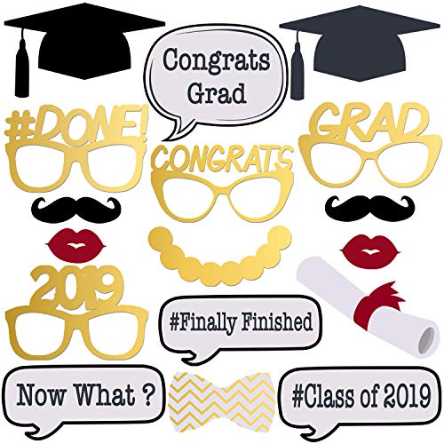 No-DIY Graduation Photo Booth Props - Shiny Foil Printing | Pre Assembled | Graduation Party Supplies 2019 Graduation Party Decorations | Class of 2019 Decor | 2019 Graduation Decorations | 17 ct -