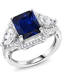 Emerald Cut Blue Simulated Sapphire 925 Sterling Silver Ring (4.79 Cttw, Available in size 5, 6, 7, 8, 9)