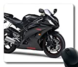 Custom Perfect Mouse Pad with Motorbike Black Yamaha R6 Non-Slip Neoprene Rubber Standard Size 9 Inch(220mm) X 7 Inch(180mm) X 1/8 Inch(3mm) Desktop Mousepad Laptop Mousepads Comfortable Computer Mouse Mat