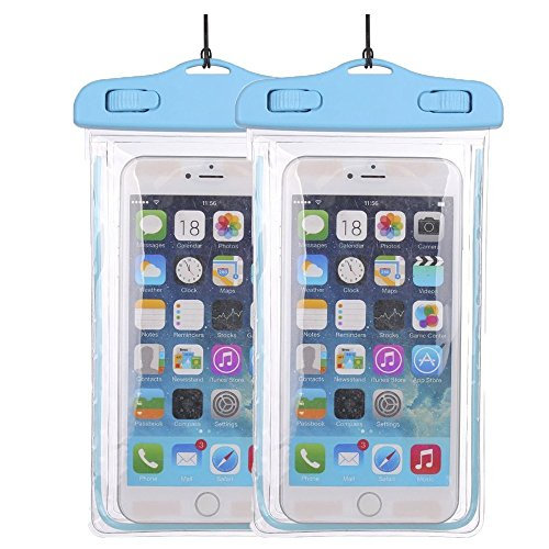 Price comparison product image 2Pack BlueUniversal Waterproof Phone Case Dry Bag CaseHQ for iPhone 4/5/6/6s/6plus/6splus,Samsung Galaxy s3/s4/s5/s6 etc. Waterproof, Dust Dirt Proof, Snow Proof Pouch for Cell Phone up to 5.7 inches