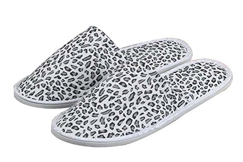 Slippers Slippers Disposable Pairs 10 Leopard Toe Comfortable Closed Black qH84X