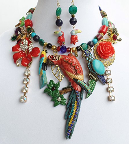 BIG TROPICAL PARROT SIGNED NECKLACE EARRINGS BUG BUTTERFLY VINTAGE BIRDS FLOWERS GEMSTONE ONE OF A KIND