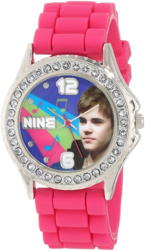 Justin Bieber Kids' JB1270 Fuchsia Strap with Clear Rhinestones Bezel Watch
