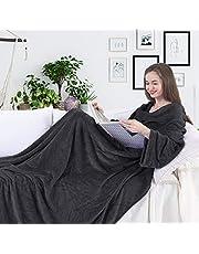 DecoKing TV deken microvezel knuffeldeken met mouwen en zakken microvezeldeken fleecedeken zacht Lazy 170x200 cm Antraciet