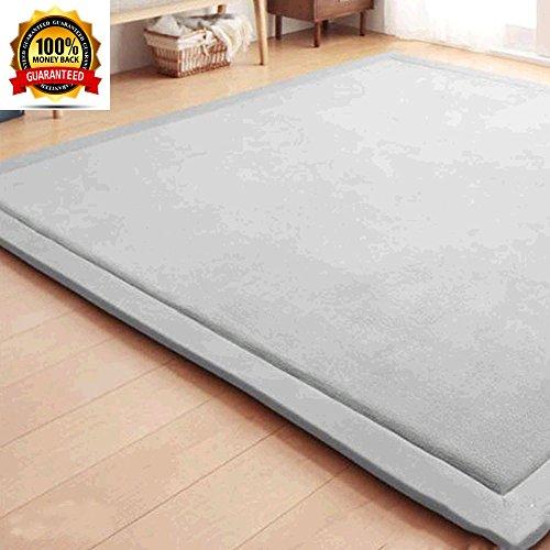 Janpanese Tatami Mat Thicken Area Rug Carpet for Living Room/Bedroom/Dining Room, Children Antiskid Play Mat Baby Crawling Mat Non-slip thicken Carpet, Grey, 79 by 98 - Mays Mall Landing