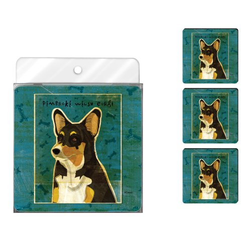 (Tree-Free Greetings NC38043 John W. Golden 4-Pack Artful Coaster Set, Tri-Color Pembroke Welsh Corgi)