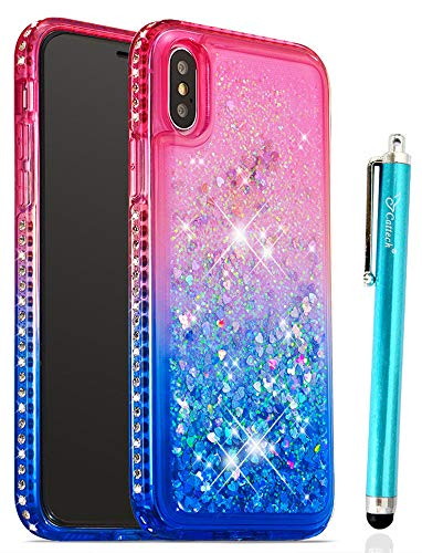 Cattech Glitter for iPhone Xs Case iPhone X Case Liquid Quicksand Waterfall Flowing Sparkle Shiny Bling Diamond Luxury Pretty Fashion Cute Girls Women iPhone Xs X Case 5.8 inch + Stylus (Pink/Blue)