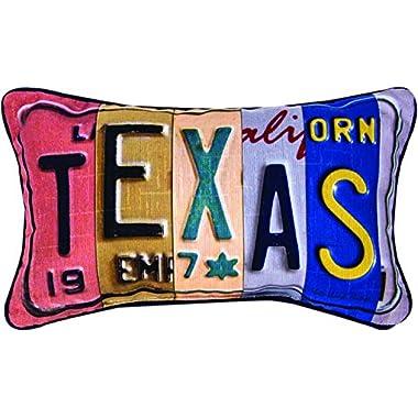 MWW Manual Vanity Plates Throw Pillow,  Texas, 14.5 x 9