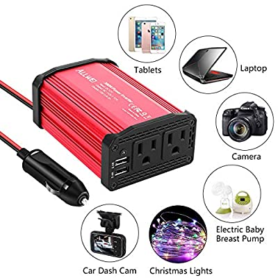 300W Car Power Inverter DC 12V to 110V AC Converter 4.8A Dual USB Charging Ports Car Charger Adapter: Automotive