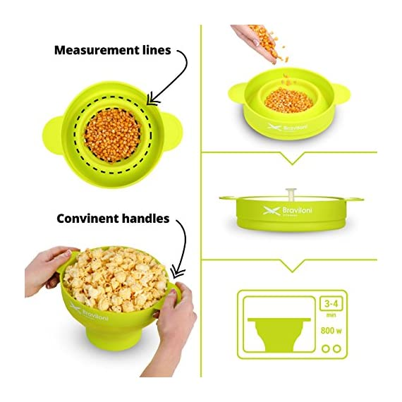 Popcorn Maker 6 ♨ DELICIOUSNESS IN MINUTES: The Braviloni microwave popcorn popper with lid whips up to 14 cups of popcorn in under 4 minutes; all without having to deal with the slowness of a stove top popcorn maker, the noisiness of electric hot air poppers, or the potentially harmful lining of microwavable popcorn bags. ♨ EASY TO USE: Simply add kernels to the quick pop maker, add seasoning, and place in the microwave. This is one of the most convenient popcorn poppers for home use thanks to the cool-touch handles for comfortable handling and graduated markings on the inner side of the bowl. ♨ COMPLETELY TOXIN FREE: Made using 100% FDA-approved food-grade silicone that is completely BPA-free, this is the best popcorn popper for making a healthy treat that the entire family will love. You can opt to use oil or skip on it entirely, making it perfect for those looking for popcorn poppers that use oil or poppers that can do without.