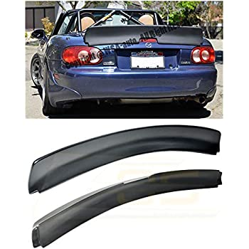 Replacement for 1999-2005 Mazda Miata MX5 NB | EOS Rocket Bunny Style Fiberglass Primer Black Rear Trunk Lid Wing Spoiler