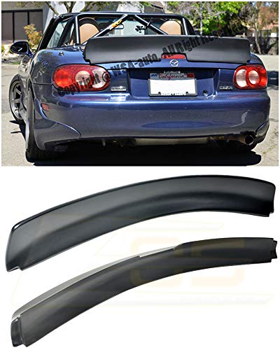 Replacement for 1999-2005 Mazda Miata MX5 NB | EOS Rocket Bunny Style Fiberglass Primer Black Rear Trunk Lid Wing Spoiler ()