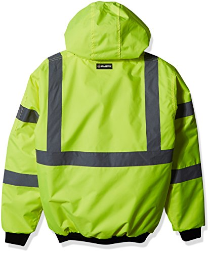 Majestic Glove 75-1300 PU Coated Polyester High Visibility Bomber Jacket with Fix Quilted Liner, Small, Yellow 2