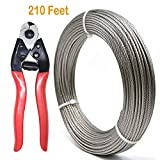WELTEK 210 Feet 1/8 Stainless Steel Aircraft Wire Rope T316 7x7 & Cable Cutter for Deck Cable Railing Kit