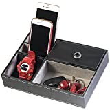 key trays for dressers - Huji Black Leatherette Valet Jewelry Tray Display Showcase Insert Liner Organizer 5 Compartments Desk Car Home Dresser Keys Phone Wallet Coins (1, Black Leatherette Jewelry/Valet Tray)
