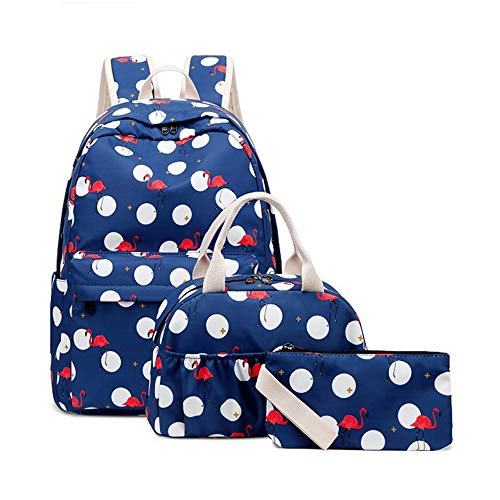 Gimay School Backpacks Girls Flamingo Teens Bookbags with Insulated Lunch Box Pencil Case Schoolbags Casual Daypack 3 in 1 (Blue)