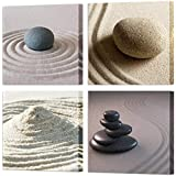 VVOVV Wall Decor - Wall Prints White Sand with Zen Spa Stone Poster Canvas Wall Art for Home Decor Modern Still Life Pictures 4 Panel Sand Beach Painting Framed Seascape Giclee Artwork