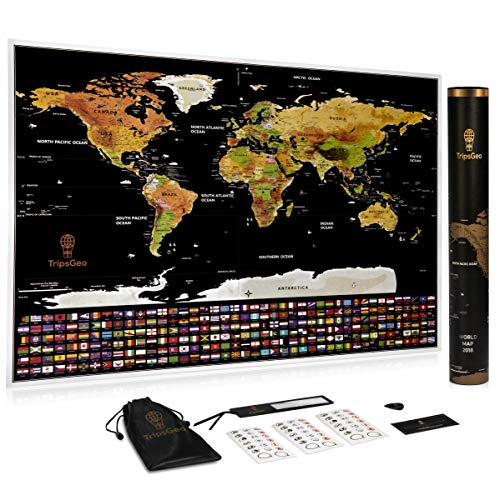 (Scratch Off World Map Poster – Travel Memory Map Gift, Authentic Detail, Gloss – State Outlines, Countries' Flags, Black and Gold - by TripsGeo)