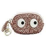 YJYDADA Wallet Holder,Women Mini Grind Leather Wallet Card Holder Wallet Purse Sequins Zipper Wallet (Pink)