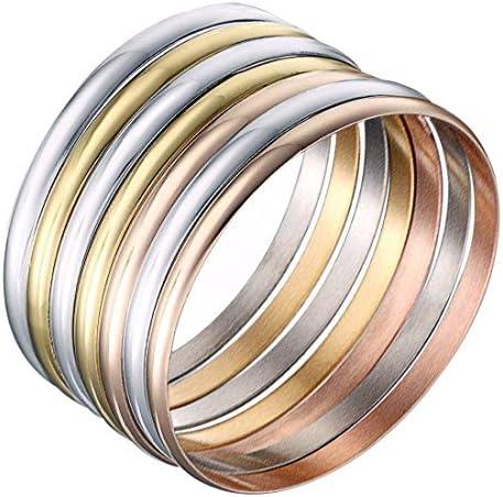 Castillna Stainless Steel Glossy Tri-Color Silver / Gold / Rose Gold Bangle Bracelet Set for Women, Set of seven Pieces