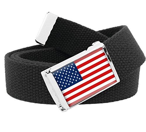 American Flag Flip Top Men's Belt Buckle with Canvas Web Belt X-Large Black -