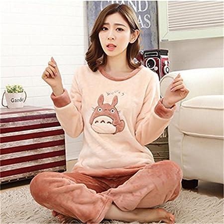 7ab2278ffd MH-RITA Autumn and Winter Women Pyjamas Sets Thick Warm Coral Velvet Suit  Flannel Long Sleeve Female Cartoon Bear Animal Pants Sleepwear