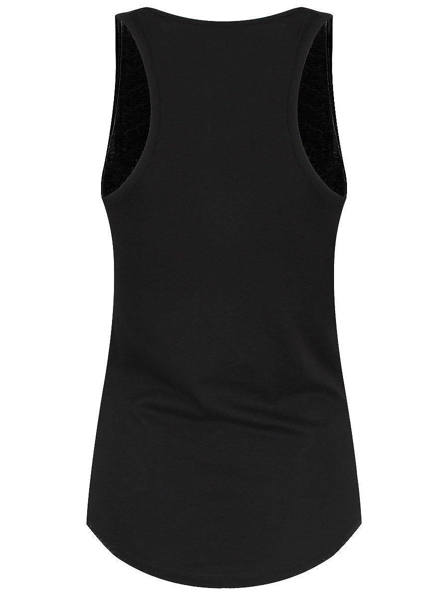 Unorthodox Womens Hamsa Hand Floaty Tank Vest Black