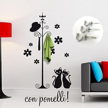 Appendiabiti Adesivi.Adesivi Creativi Adesivo Sticker Murale Appendiabiti Con Gatti Dimensioni 113 X 180 Cm Wall Stickers Adesivi Da Parete Decorazione Murale