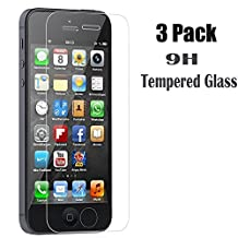 [3-Pack] iPhone 5S/SE/5C/5 Screen Protector,iBarbe Tempered Glass Film Screen Protector Ultra Thin 0.26mm 2.5D edge 9H Hardness Anti Oil/Water Nano Coating for iPhone SE 5s 5c 5