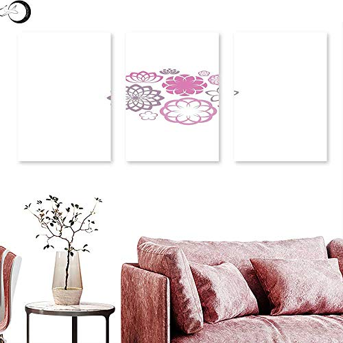 (J Chief Sky Dahlia Abstract Painting Hypotrochoid Style Flower Collection of Chrysanthemum Dahlias and Lilies Triptych Photo Frame Fuchsia Dried Rose Triptych Art Canvas W 16