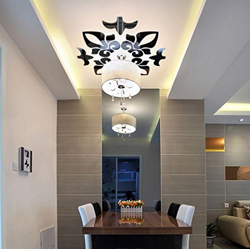 Creative Leaves Wallpaper (Sunsee Creative Abstract Acrylic Style 3D Wall Stickers Mirror Ceiling Wall Mirrors (Black))