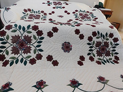 Queen Size, Amish Made, Hand Stitched, Applieque - Spring Flower Quilt
