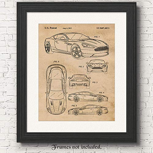 Original Aston Martin DB9 Patent Poster Prints, Set of 1 (11x14) Unframed Photo, Great Wall Art Decor Gifts Under 15 for Home, Office, Man Cave, College Student, Teacher, England Cars & Coffee Fan