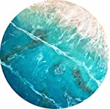 ''Sub Aqua'' Coral reef & translucent tropical waters with foaming waves. 18-inch Circle on 1'' Pinewood. Hangable. Resin Pour Painting