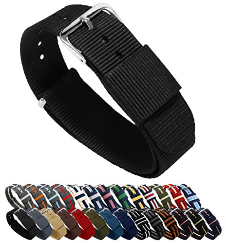 BARTON Watch Bands - Choice of Color, Length & Width (18mm, 20mm, 22mm or 24mm) - Black 20mm - Standard Length (20 Mm Watch Band Nato)