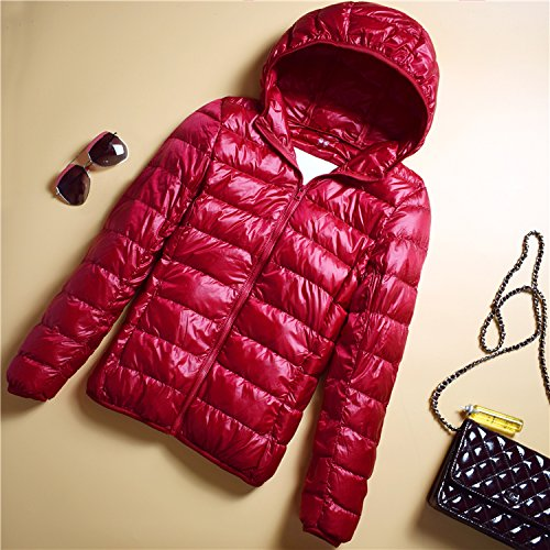 red Slim Down Collar Jacket Paragraph Ladies Hood B Thin Portable Jacket Xuanku Section Collar Short w8xqTv6vZI